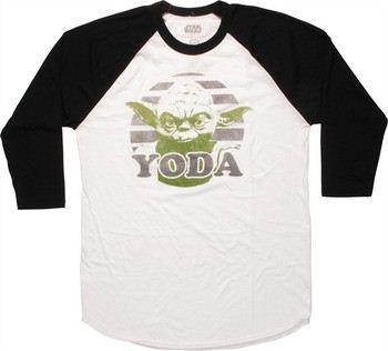 Star Wars Yoda Circle 3/4 Raglan Sleeve T-Shirt Sheer