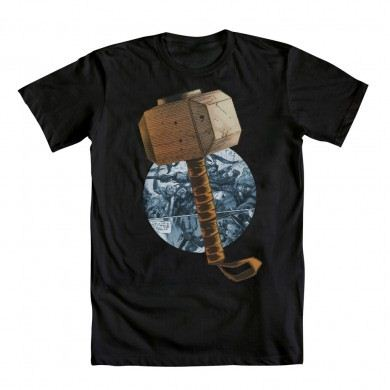 The Mighty Thor Thor's Hammer Comic Circle Black Adult T-shirt