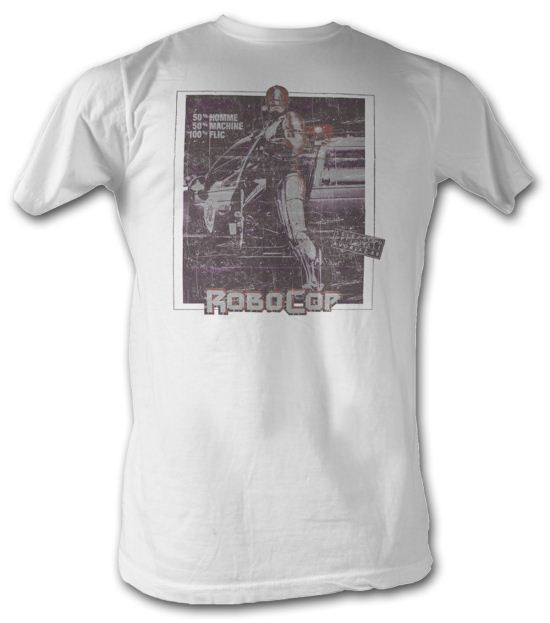 Robocop T-Shirt - French Movie Poster Adult White Tee Shirt