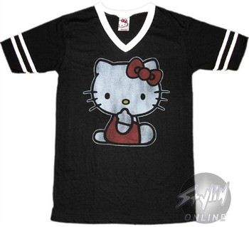 Hello Kitty V-Neck #76 Stripes Baby Doll Tee by MIGHTY FINE