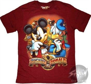 """a94aaa4d ... Disney Mickey Mouse Donald Duck Thought Youth Boys T-Shirt. """""""