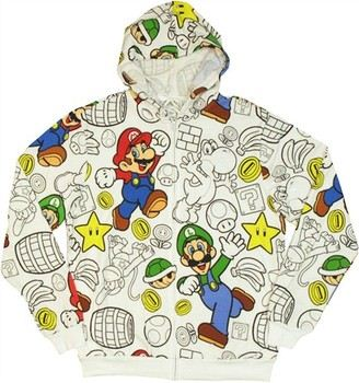 Nintendo Super Mario Bros Friends Outline Some Color Full Zipper Hooded Sweatshirt