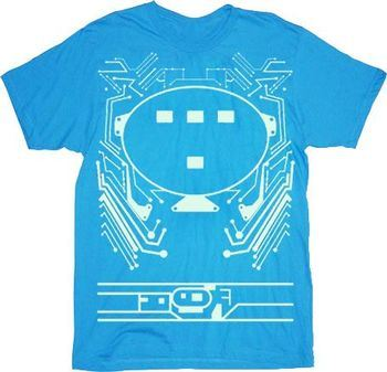 Tron Chest Plate Turquoise Blue Adult T-shirt