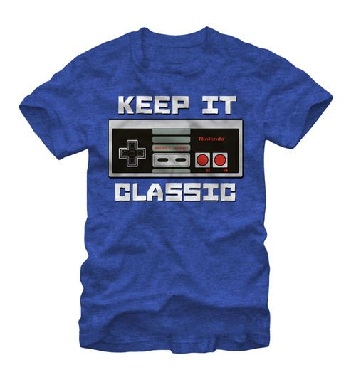 Nintendo Keep It Classic Controller Adult Royal Heather Blue T-Shirt