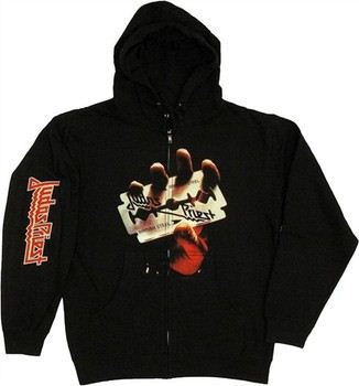 Judas Priest British Steel Razor Full Zipper Hooded Sweatshirt