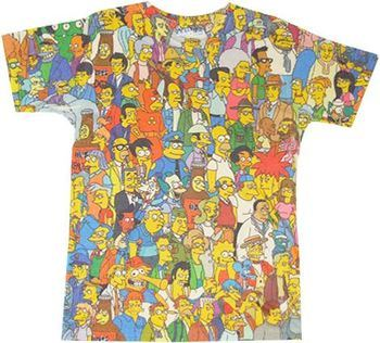 7932d59c2 ... The Simpsons Springfield Crowd Photosheer Beige Adult T-Shirt