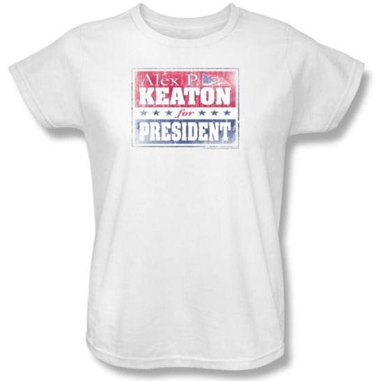 Family Ties Ladies Shirt Alex For President White T-Shirt