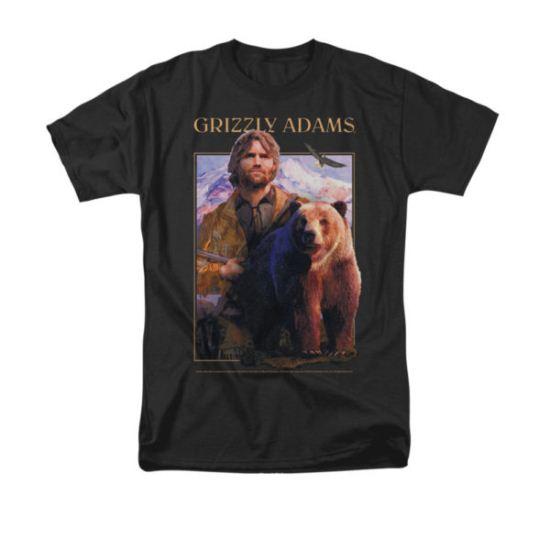 Grizzly Adams Shirt Portrait Black T-Shirt