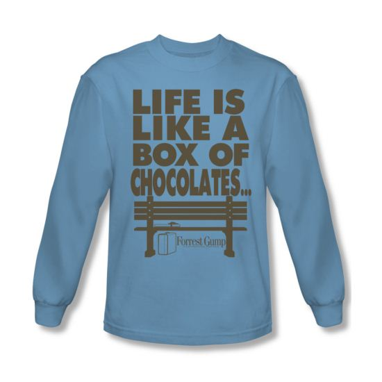 Forrest Gump Shirt Life Long Sleeve Carolina Blue Tee T-Shirt