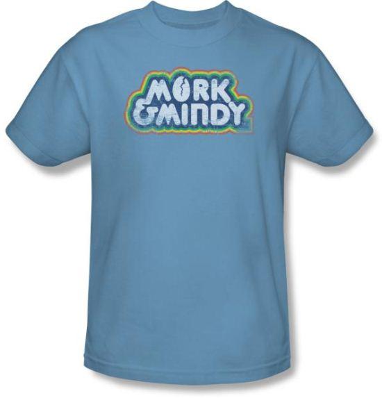 Mork and Mindy Shirt Distressed Mork Logo Carolina Blue T-Shirt
