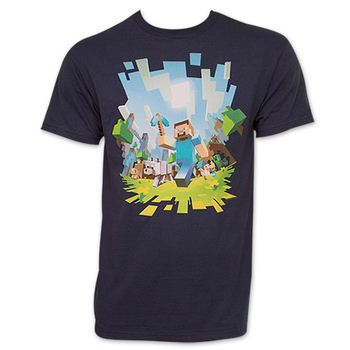 Minecraft Characters TShirt - Navy Blue