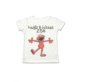 Sesame Street Elmo XOXO Hugs & Kisses 25 Cents Toddler White T-Shirt