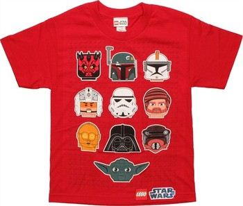 Star Wars Lego Heads Red Youth T-Shirt