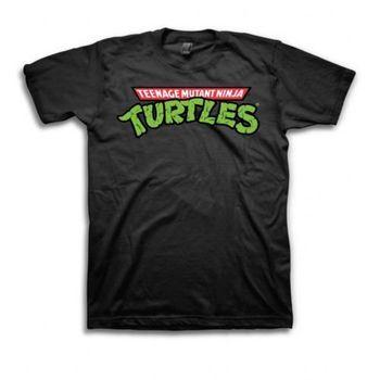 TMNT Teenage Mutant Ninja Turtles Logo Adult Black T-shirt