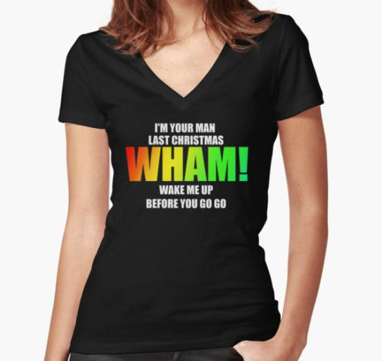 WHAM! - songs Women's Fitted V-Neck T-Shirt by Corpsecutter T-Shirt