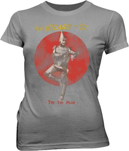 The Wizard of Oz The Tin Man Silver Gray Juniors T-shirt