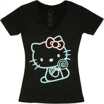 9dbe880b4decb ... Hello Kitty Contrast Outline Jack of All Trades Baby Doll Tee