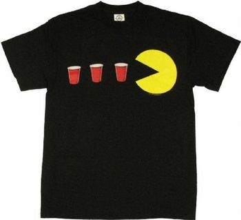 Pac-Man Red Cup Power Up Adult Black T-shirt