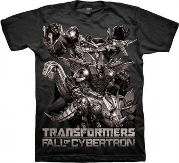 Transformers the Fall of Cybertron Adult Black T-Shirt