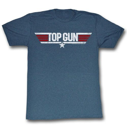Top Gun Logo Adult Heather Navy T-Shirt