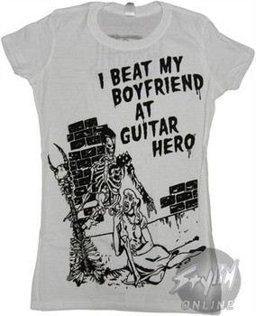 Guitar Hero I Beat My Boyfriend Baby Doll Tee