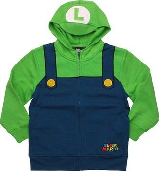 Nintendo Super Mario Luigi Visor Costume Full Zipper Hooded Youth Sweatshirt