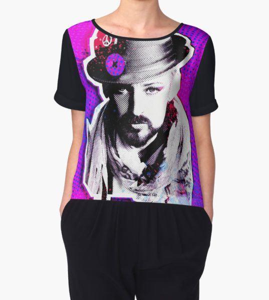 Boy George paint splatter Women's Chiffon Top by Dean Stockings T-Shirt