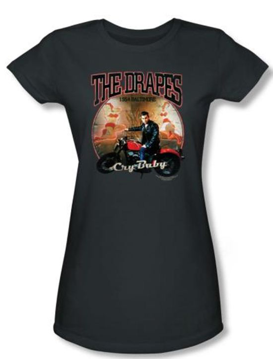 Cry Baby Juniors T-shirt Movie The Drapes Charcoal Tee Shirt