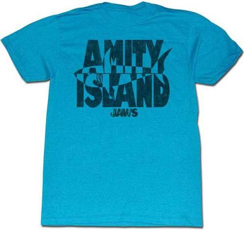 Jaws Invert Amity Island Turquoise Adult T-shirt