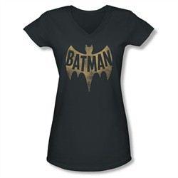 Classic Batman Shirt Juniors V Neck Distressed Logo Charcoal T-Shirt