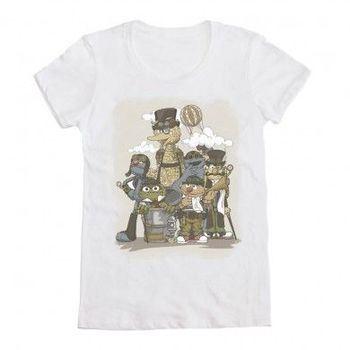 Sesame Street Steampunk Characters White Juniors T-shirt