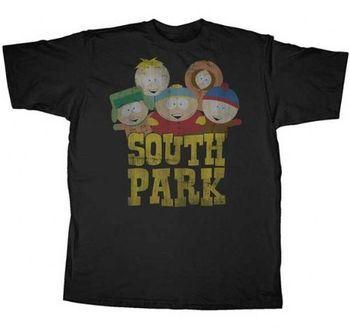 South Park Old South Park Logo Distressed Black Adult T-shirt