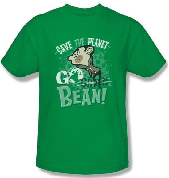 Mr. Bean Shirt Go Bean Adult Kelly Green Tee T-Shirt