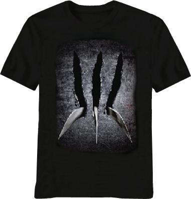 X-men Wolverine Claw Adult Black T-shirt