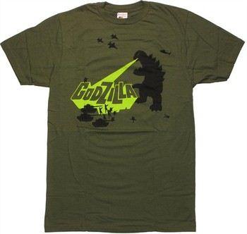 Godzilla Tanks Green T-Shirt Sheer