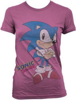 Sonic The Hedgehog Standing Juniors Fuchsia T-shirt