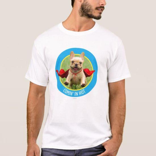 Cute French Bulldog Superhero Runs in Grass T-Shirt