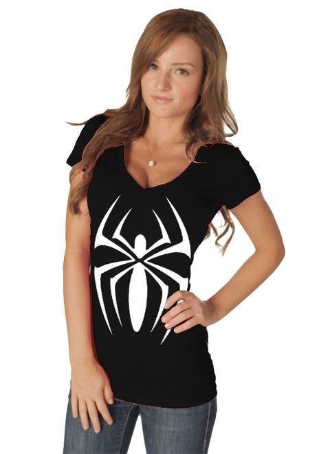 Marvel Spider Girl V-neck Juniors Black Costume T-shirt