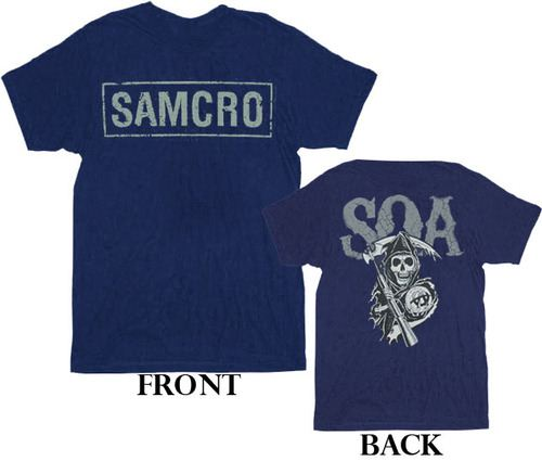 ... Sons of Anarchy SOA Samcro Cracked 2-Sided Navy Adult T-shirt