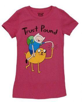 Adventure Time Finn and Jake Trust Pound Juniors Fuschia Pink T-shirt