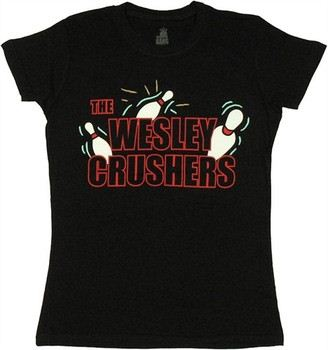 a26b26d1 ... Big Bang Theory The Wesley Crushers Bowling Team Black Baby Doll Tee. ""