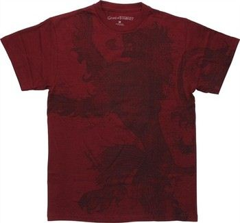 Game of Thrones Large Lannister Lion Dark Red T-Shirt