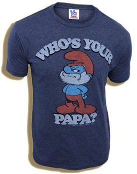 8a51abba6 ... Junk Food Smurfs Papa Smurf Who s Your Papa Navy Adult T-shirt
