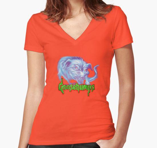 'goosebumps' Women's Fitted V-Neck T-Shirt by roger  hendrix T-Shirt