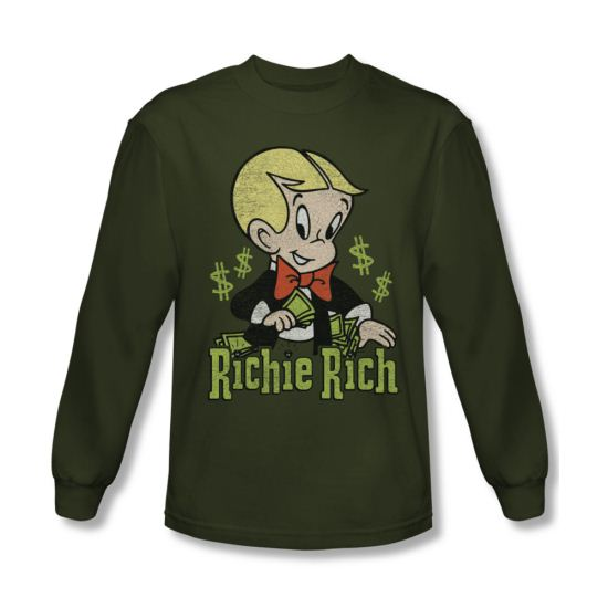 Richie Rich Shirt Logo Long Sleeve Olive Green Tee T-Shirt