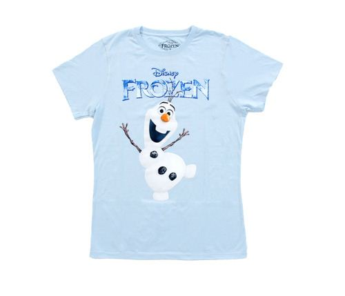 Disney Frozen Olaf Snowman Stand Logo Juniors Light Blue T-Shirt