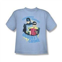 Classic Batman Shirt Kids Against Crime Light Blue T-Shirt