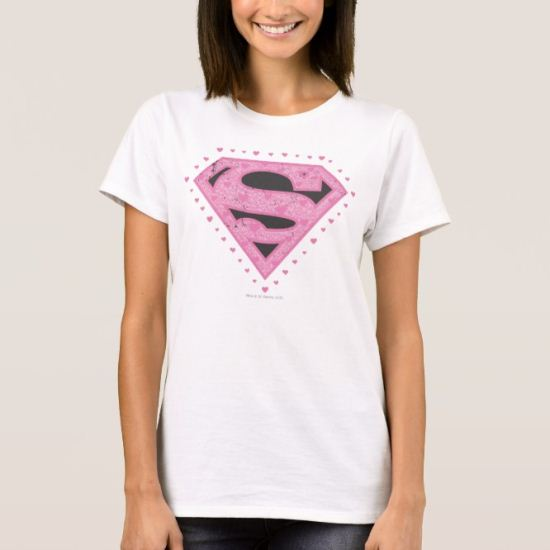 Supergirl Distressed Logo Black and Pink T-Shirt