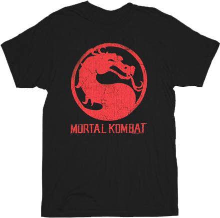 Mortal Kombat Classic Distressed Logo Black Adult T-shirt