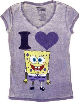 Spongebob SquarePants I Love Heart Spongebob V-Neck Heathered Lilac Juniors T-shirt